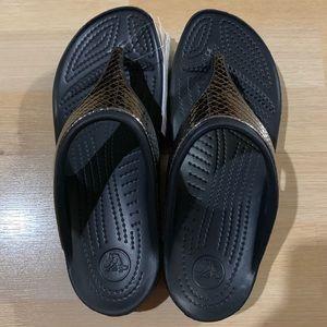 Crocs Sloane Metaltxt Flip Flop Black Metallic